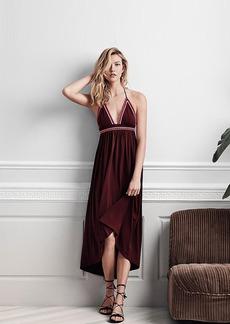 Express Contrast Embroidered Trim Halter Maxi Dress