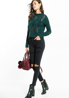 Express Crocheted Cable Knit Mock Neck Abbreviated Sweater