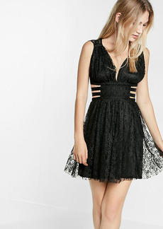 Express Cut Out Pleated Lace Mini Dress