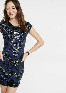 Deco Sequin Embellished Cap Sleeve Sheath Dress