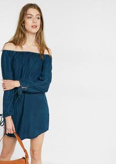 Denim Off The Shoulder Trapeze Dress
