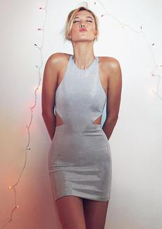 Embellished Metallic V Back Mini Dress