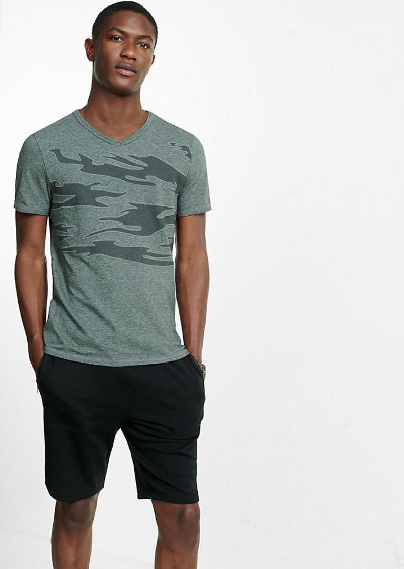 Express Embroidered Camo Graphic V Neck T Shirt