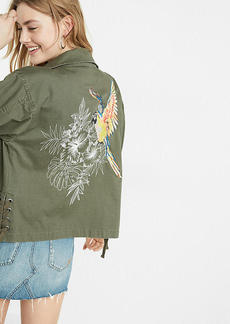 Express Embroidered Parrot Military Jacket