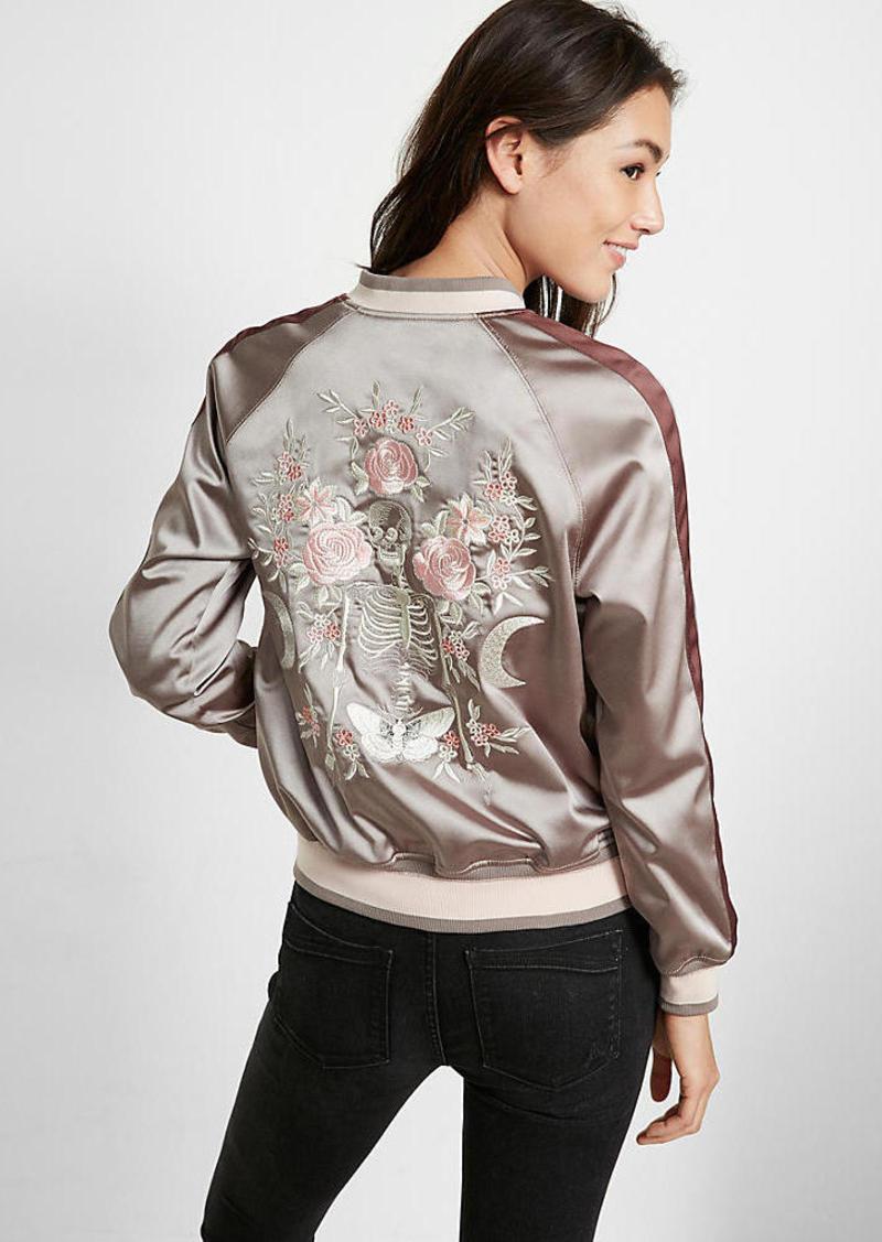 Embroidered Satin Skeleton Reversible Bomber Jacket
