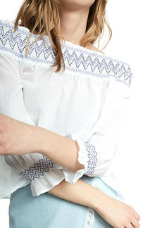 Embroidered Smocked Off The Shoulder Long Sleeve Blouse