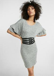 Express One Eleven Ruffle Short Sleeve Sweatshirt Dress
