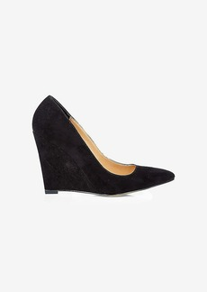 Express Faux Suede Pointed Toe Wedge Pump