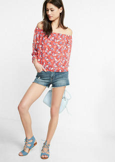 Floral Print Abbreviated Off The Shoulder Blouse