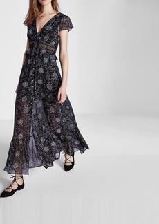 Express Floral Print Ladder Lace Chiffon Maxi Dress