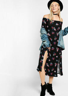 Floral Print Off The Shoulder Long Sleeve Midi Dress