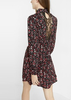 Floral Print Ruffle Front A Line Dress