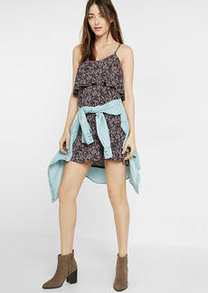 Floral Print Ruffle Overlay Cami Dress