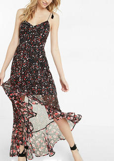 Floral Print Tie Shoulder Ruffle Maxi Dress