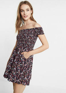 Floral Smocked Off The Shoulder Fit And Flare Dress