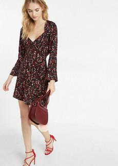 Floral Sweetheart Neckline Bell Sleeve Mini Dress
