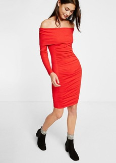 Fold Over Ruched Midi Sweater Dress