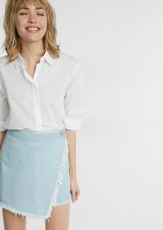 Frayed Wrap Front Mini Skirt