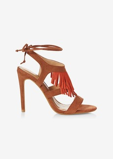 Express Fringe Lace Up Heeled Sandal