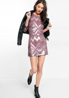 Geometric Sequined Long Sleeve Dress
