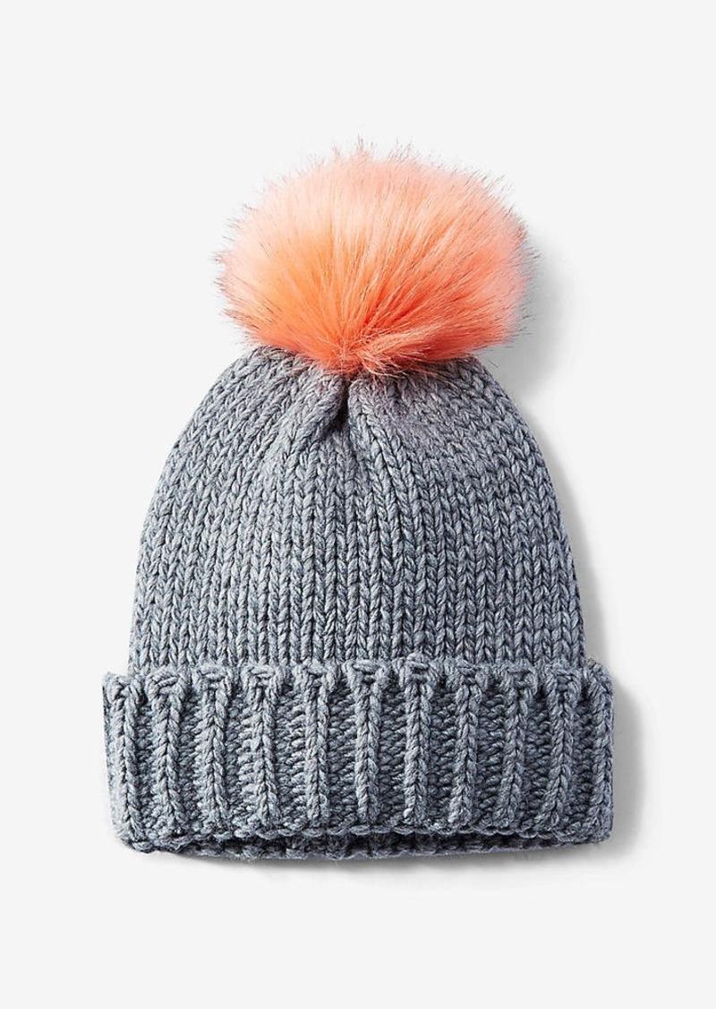 Express Gray Knit Pom Beanie