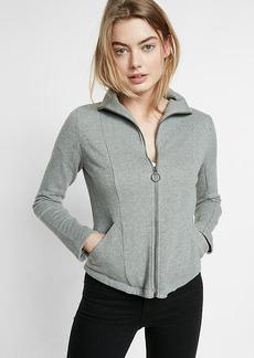 Gray Zip Front High Neck Jacket