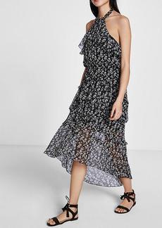 Halter Tiered Ruffle Midi Dress
