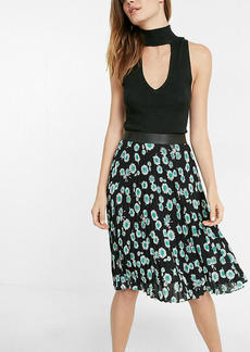 High Waisted Floral Pleated Midi Skirt