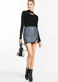 High Waisted Geo Jacquard Asymmetircal Mini Skirt