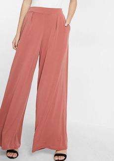 High Waisted Jersey Knit Wide Leg Dress Pant