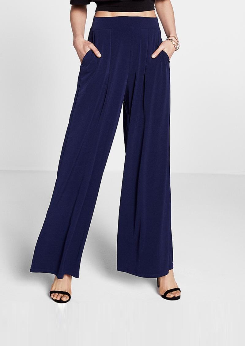 Express High Waisted Jersey Knit Wide Leg Dress Pant