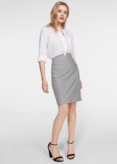 High Waisted Notch Front Stripe Pencil Skirt