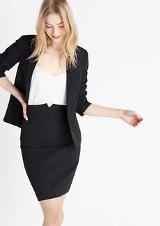 High Waisted Pinstriped Notch Front Pencil Skirt