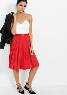 High Waisted Pleated Midi Skirt