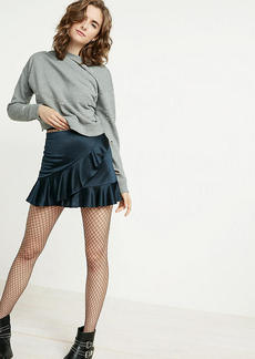 High Waisted Satin Ruffle Mini Skirt