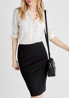 High Waisted Seamed Midi Pencil Skirt
