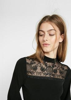 Lace Mock Neck Long Sleeve Blouse