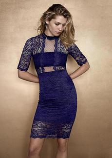 Lace Mock Neck Sheath Dress