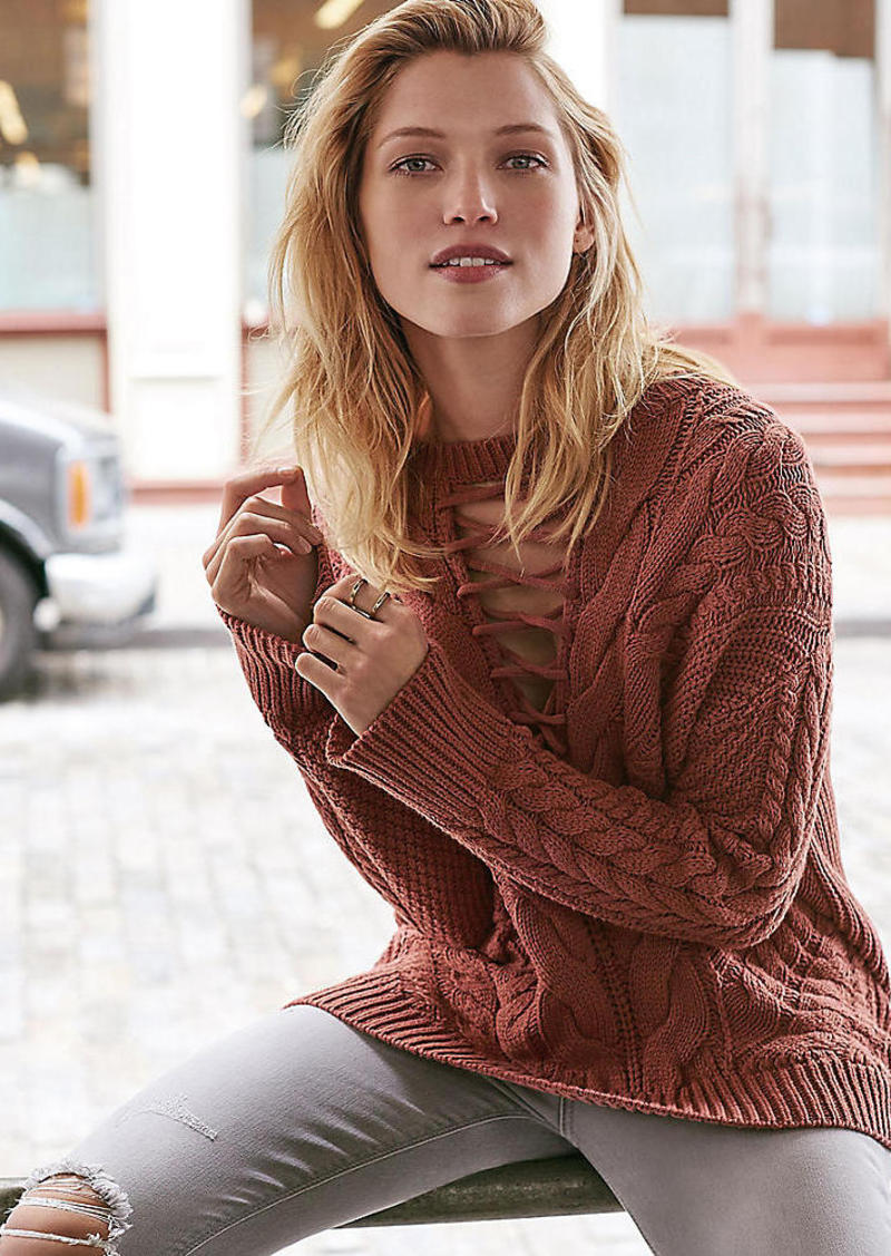 Express Lace Up Inset Cable Knit Sweater Now  40.99 71f670b8b