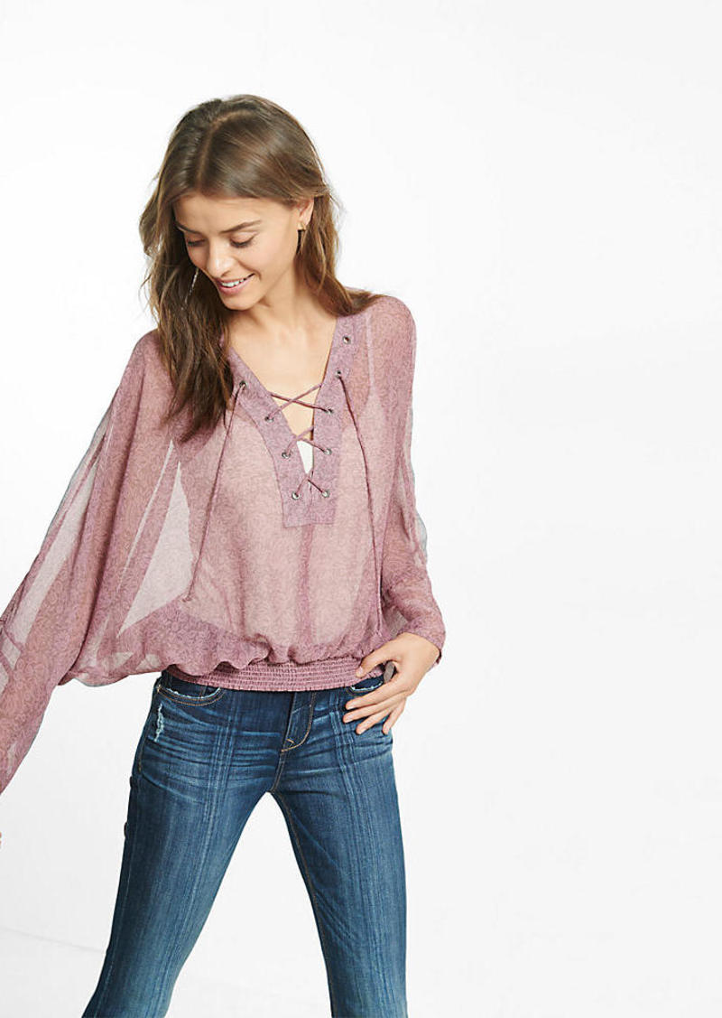 Express Lace Up Sheer Blouse