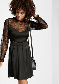 Lace V Front Fit And Flare Dress