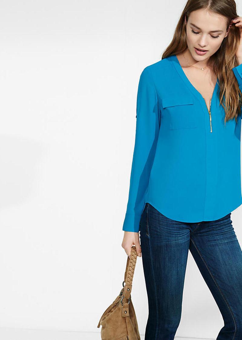 Express Long Sleeve Zip Front Blouse