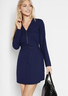 Long Sleeve Zip Front Shirt Dress
