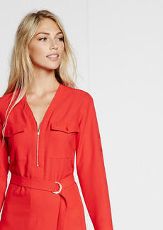 Long Sleeve Zip Front Shirt Dress
