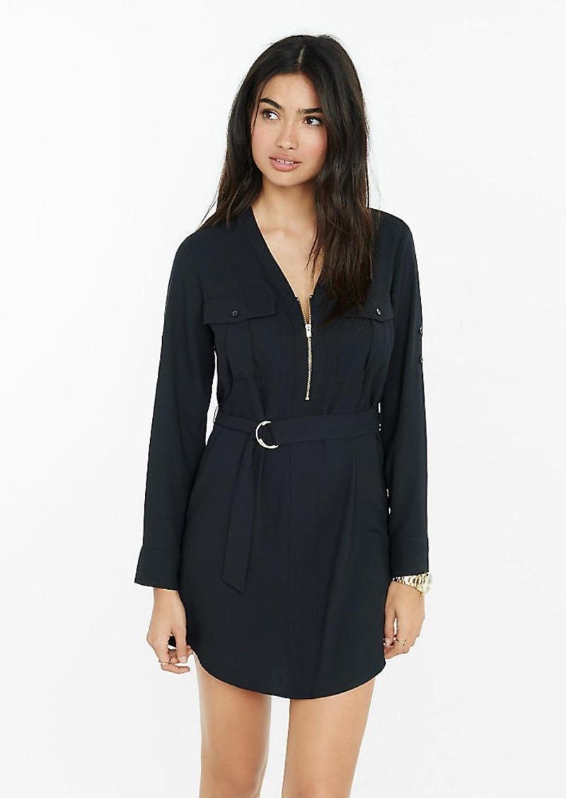 Express Long Sleeve Zip Front Shirt Dress