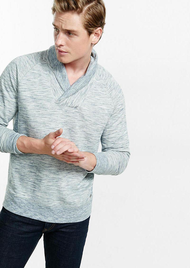 Express Marled Shawl Collar Raglan Sleeve Sweatshirt