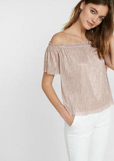 Metallic Pleated Off The Shoulder Blouse