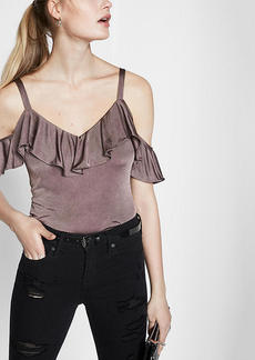 Metallic Ruffle Overlay Cold Shoulder Blouse