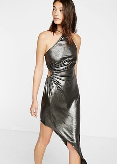 Metallic Side Cut Out Asymmetrical Dress