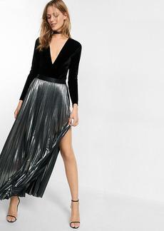 Metallic Slit Front Pleated Maxi Skirt